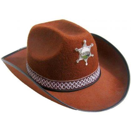 c19d752404a Kovbojský klobouk hnědý s páskem a hvězdou