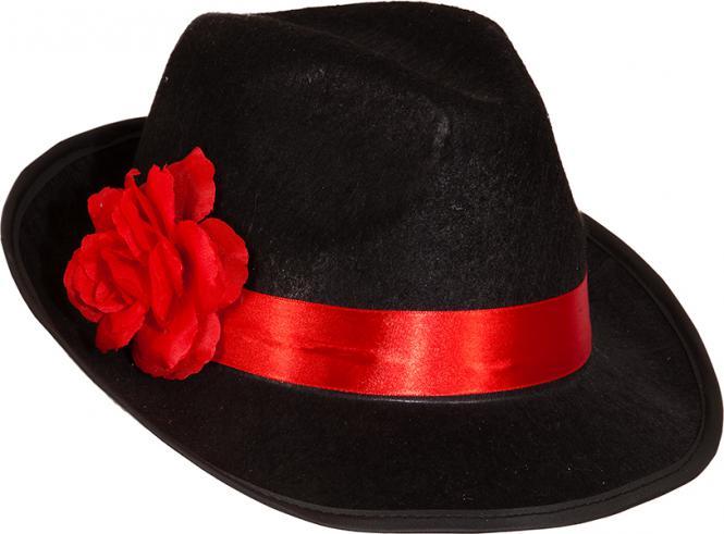 be0f95c364c mafiánský klobouk černočervený s květem
