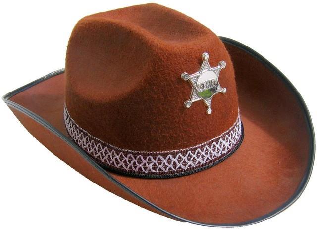 Kovbojský klobouk hnědý s páskem a hvězdou 7f7da7cd37