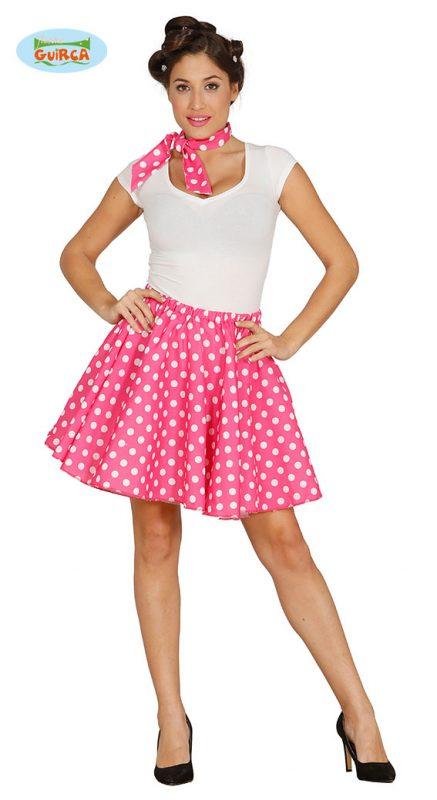 5eada9954445 růžová sukně s bílými puntíky 42 44